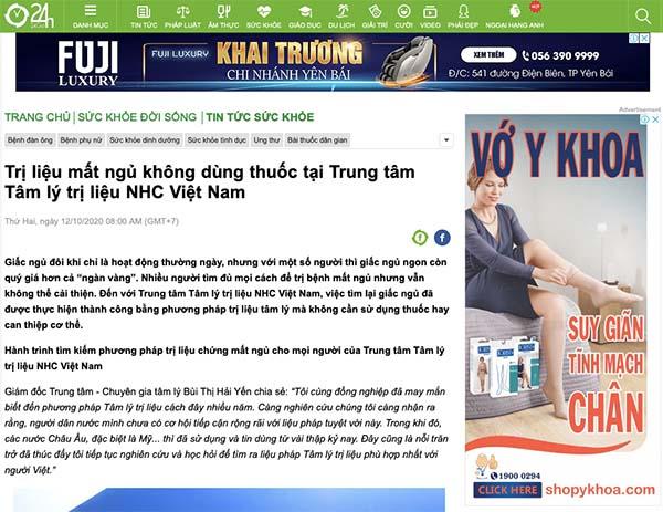 [24h.com.vn] - Trị liệu mất ngủ không dùng thuốc tại Trung tâm Tâm lý trị liệu NHC Việt Nam