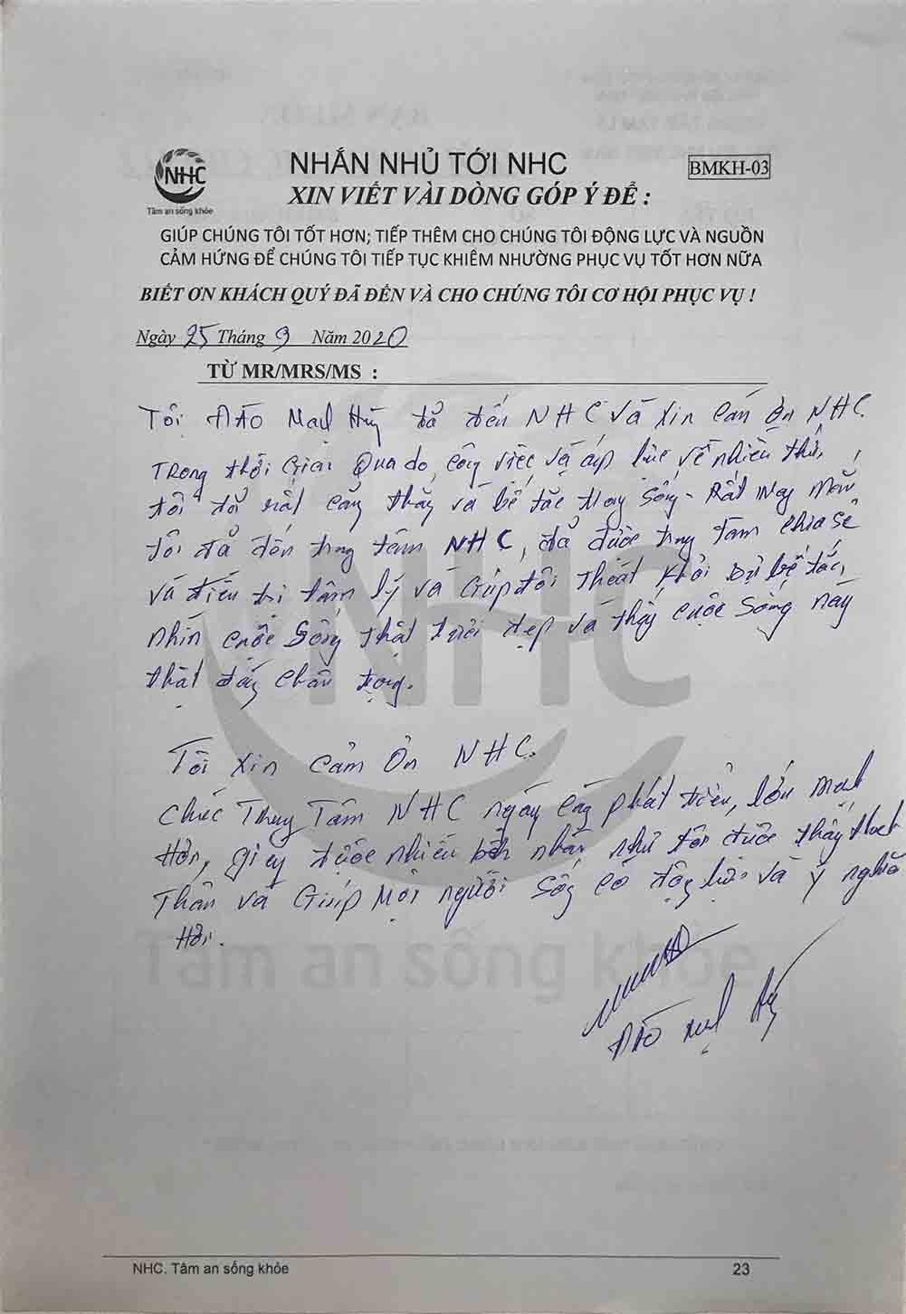 Chia sẻ của anh Hùng sau khi kết thúc 7 buổi trị liệu tại Trung tâm NHC