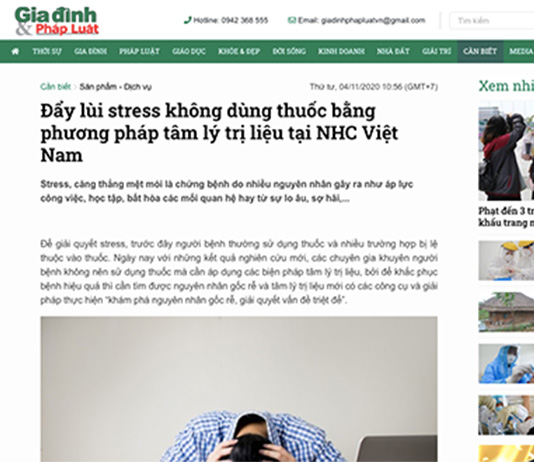 [Gia đình & Pháp luật] Đẩy lùi stress không dùng thuốc bằng phương pháp tâm lý trị liệu tại NHC Việt Nam