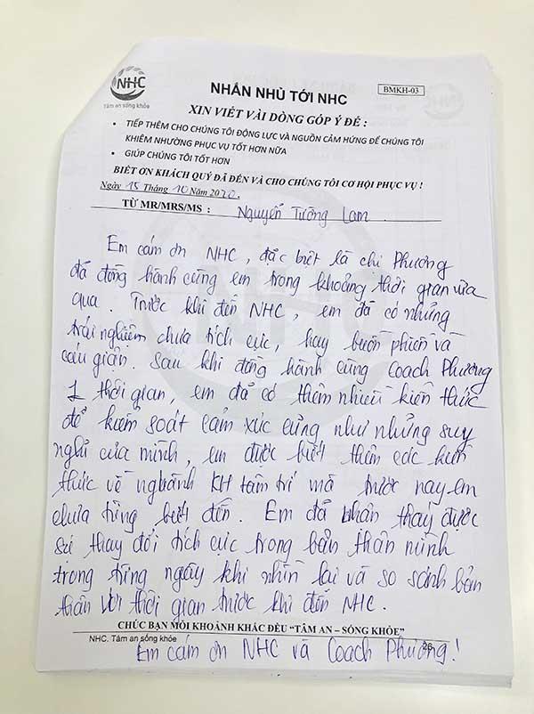 Chia sẻ của em Lam sau khi kết thúc liệu trình trị liệu tại Trung tâm Tâm lý trị liệu NHC Việt Nam