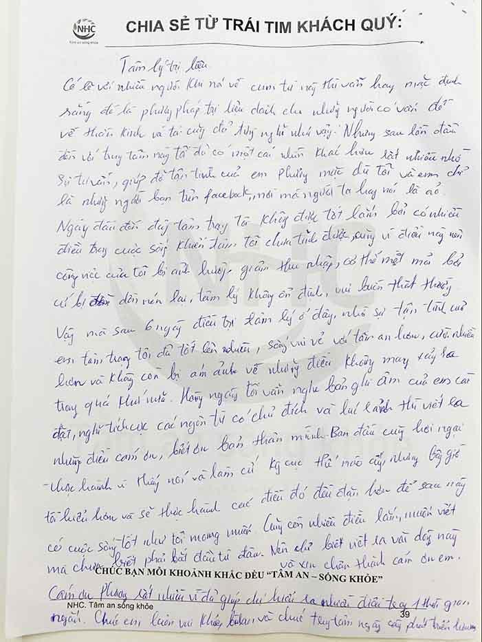 Lời nhắn nhủ của chị Phạm Thu Hường sau khi kết thúc liệu trình trị liệu tại Trung tâm Tâm lý trị liệu NHC Việt Nam