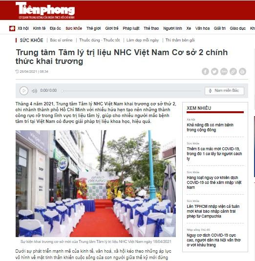 [Tiền Phong] Trung tâm Tâm lý trị liệu NHC Việt Nam Cơ sở 2 chính thức khai trương