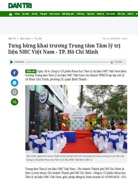 [Dân Trí] Tưng bừng khai trương Trung tâm Tâm lý trị liệu NHC Việt Nam - TP. Hồ Chí Minh