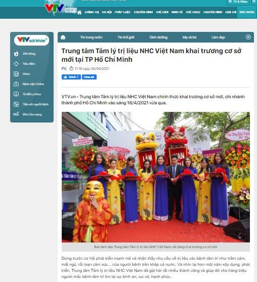 [VTV] Trung tâm Tâm lý trị liệu NHC Việt Nam khai trương cơ sở mới tại TP Hồ Chí Minh