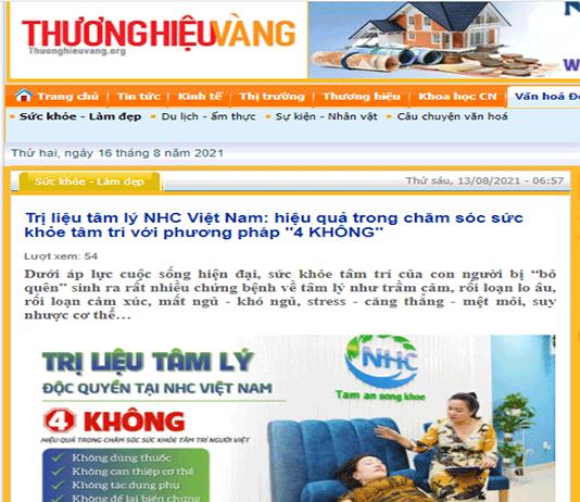 [Thương Hiệu Vàng] Trị liệu tâm lý NHC Việt Nam: hiệu quả trong chăm sóc sức khỏe tâm trí với phương pháp ''4 KHÔNG''